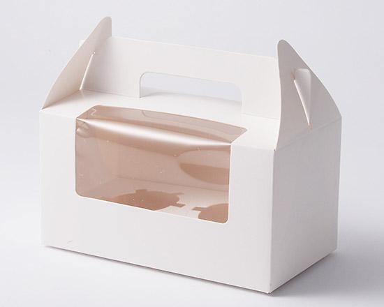 手提ケーキカップ箱 窓付 2ヶ用