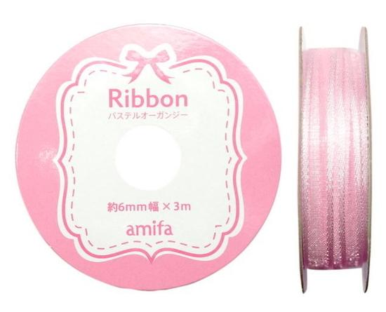 リボン パステルオーガンジー 6mm ピンク / 3m