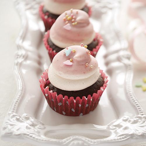 苺のチョコディップカップケーキ