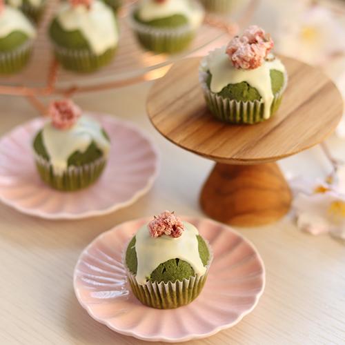 グルテンフリー!抹茶と桜のオイルマフィン