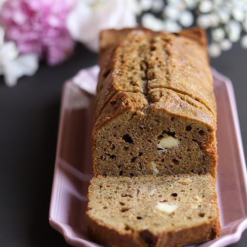 グルテンフリー!ほうじ茶とホワイトチョコのパウンドケーキ